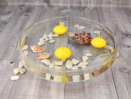 Svíčka plovoucí lakovaná žlutá