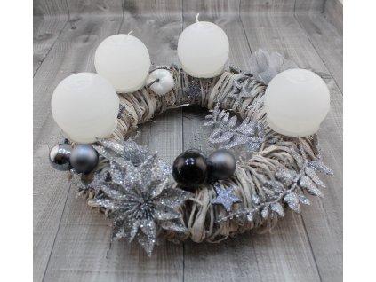 Svícen adventní  proutí stříbrno bílý