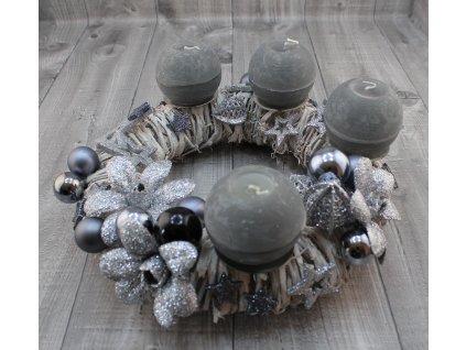 Svícen adventní proutí stříbrný