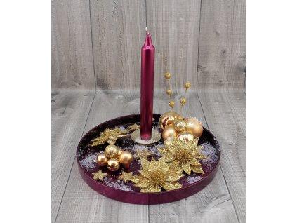 Svícen vánoční kulatý bordo zlatý