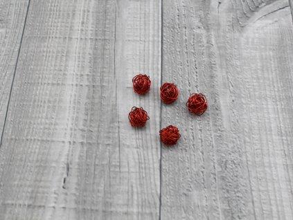 Drátkové kouličky hladké červená 01