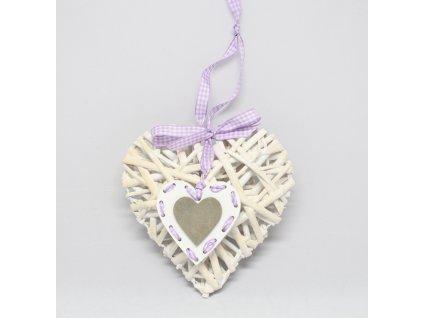 Srdce proutí vypouklé s přízdobou