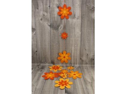 Girlanda papyrus květ malý a velký oranžová