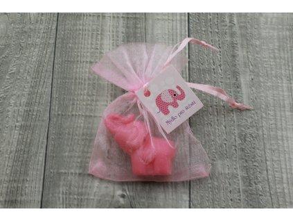 Mini mýdlo slon 3D růžový 30g