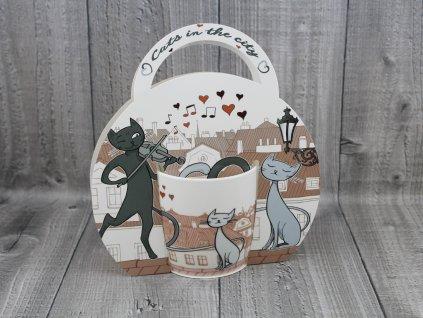 Hrnek porcelán 0,3l v tašce,kočka