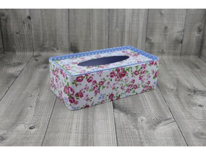 Krabice na kapesníky-bílá, květy