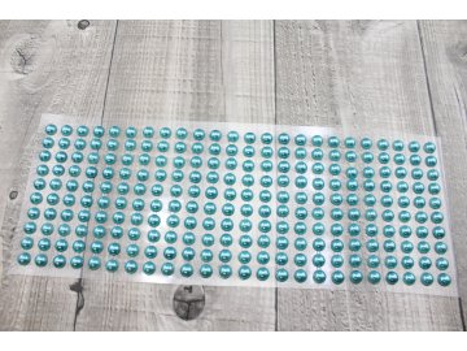 Perličky nalepovací 8mm- světle modrá, tyrkys