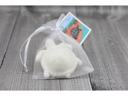 Mini mýdlo želva 3D bílá 30g