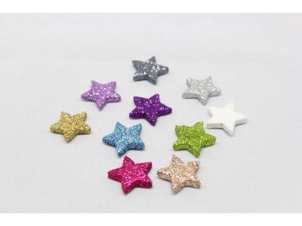 Hvězdička mini glitrová plochá