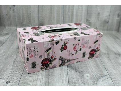 Krabice na kapesníky-tisk růžová