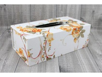 Krabice na kapesníky-oranžový květ