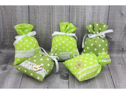 Sáčky dekorační zelený puntík