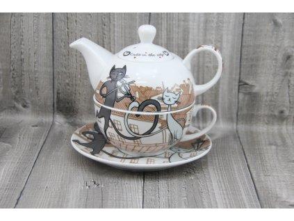 Souprava porcelánová na přípravu čaje-kočky