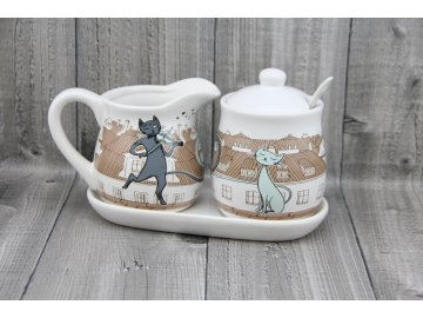 Souprava porcelánová mléko+cukr, kočky