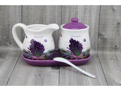 Souprava porcelánová mléko+cukr, levandule