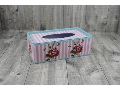 Krabice na kapesníky-proužek růžový