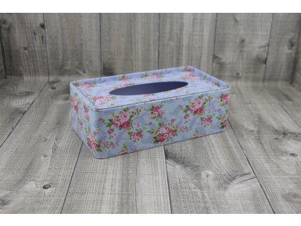 Krabice na kapesníky-modrá s květy
