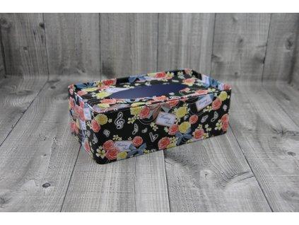Krabice na kapesníky-černá s květy
