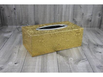 Krabice na kapesníky-zlatá s květy