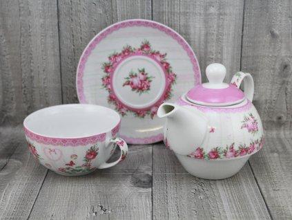 Souprava porcelánova na přípravu čaje-růže
