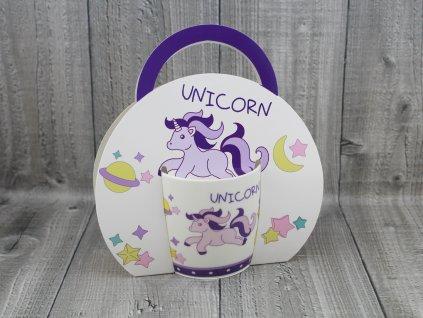 Hrnek porcelán 0,3l v tašce,unicorn
