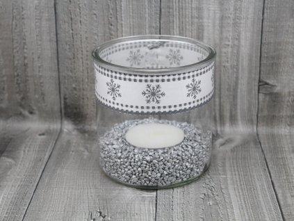 Svícen sklo velký-bílostříbrný