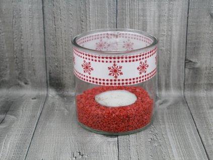 Svícen sklo velký-bíločervený
