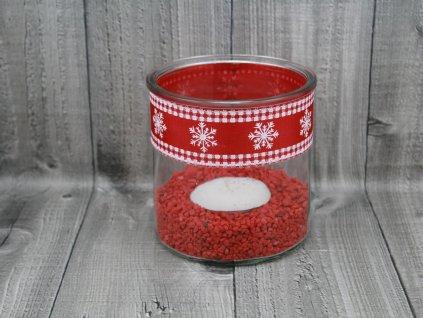 Svícen sklo velký-červenobílý