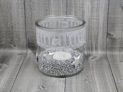 Svícen sklo velký-stříbrný