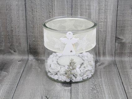 Svícen sklo velký-bílý s andílkem