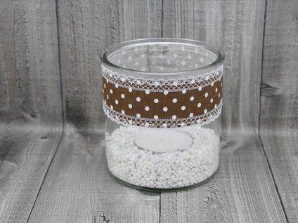 Svícen sklo velký-hnědý puntík