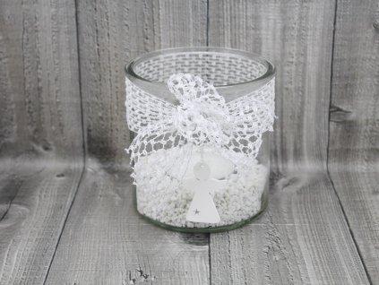 Svícen sklo velký-bílá síťka