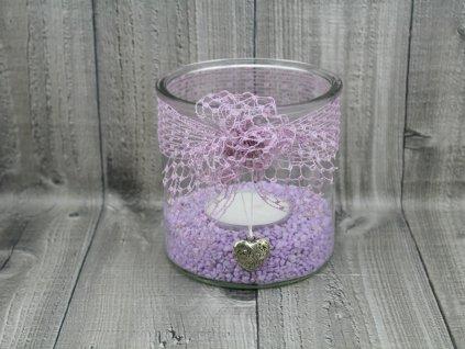Svícen sklo velký-fialpvá síťka