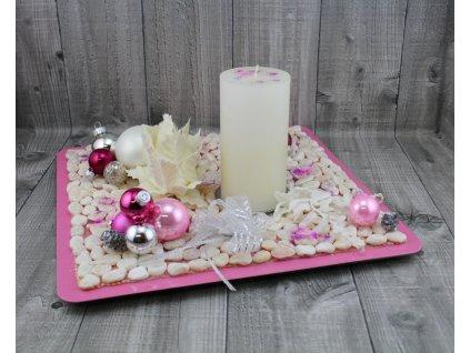 Svícen vánoční-růžovobílý