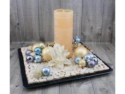 Svícen vánoční-modrostříbrný