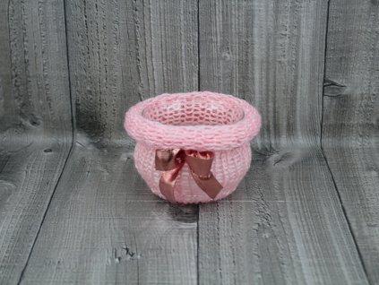 Svícen baňka opletený-růžový