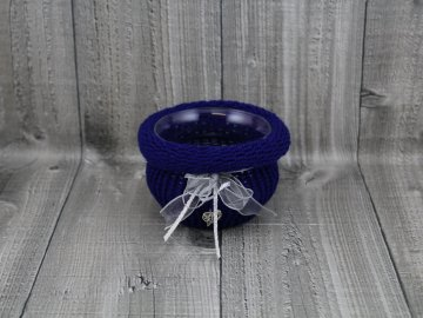 Svícen baňka opletený-modrý tmavý