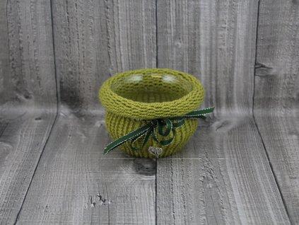 Svícen baňka opletený-zelený