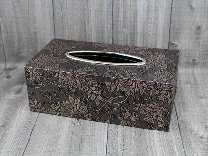 Krabice na kapesníky-tmavě hnědá,růžičky