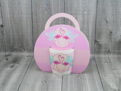 Hrnek porcelán 0,3l v tašce,růžový plameňák