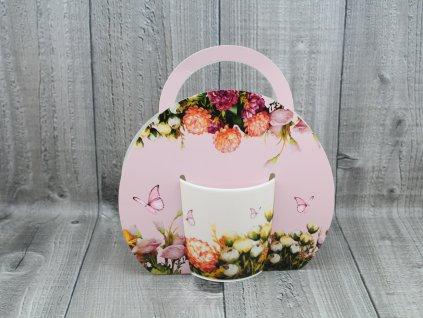 Hrnek porcelán 0,3l v tašce,květy světlé