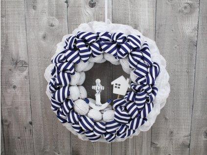 Věnec moře-bílo modrý proužek