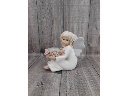 Andílek s květy-svícen
