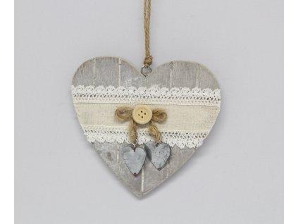 Srdíčko dřevěné s ozdobou