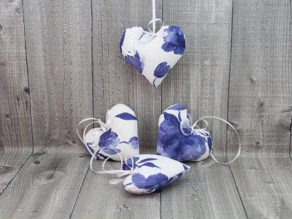 Srdce závěsné modrobílé