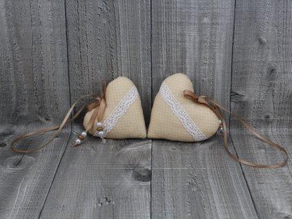 Srdce 2 kusy-béžové