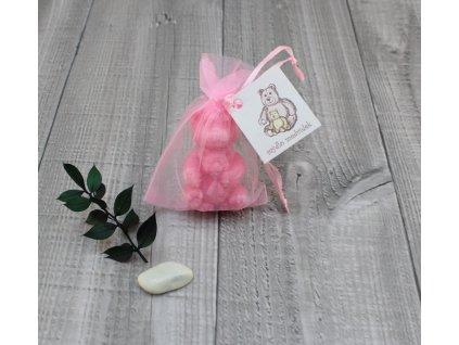 Mini mýdlo medvídek 3D růžový 30g