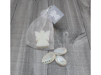 Mini mýdlo anděl plochý bílý 20g