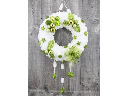 Věnec z vlny sněhově bílá zelená