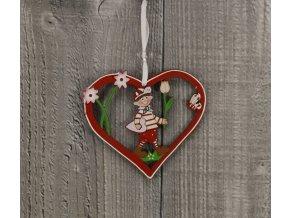 Srdce dřevěné s panáčkem